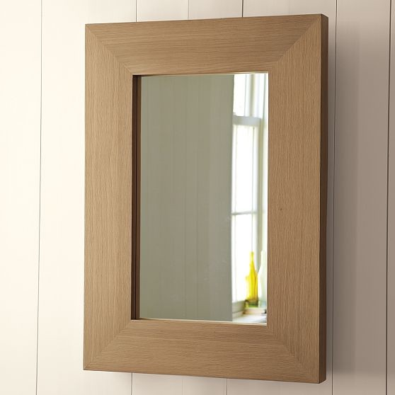 chunky wood mirror modern wall mirrors by west elm. Black Bedroom Furniture Sets. Home Design Ideas