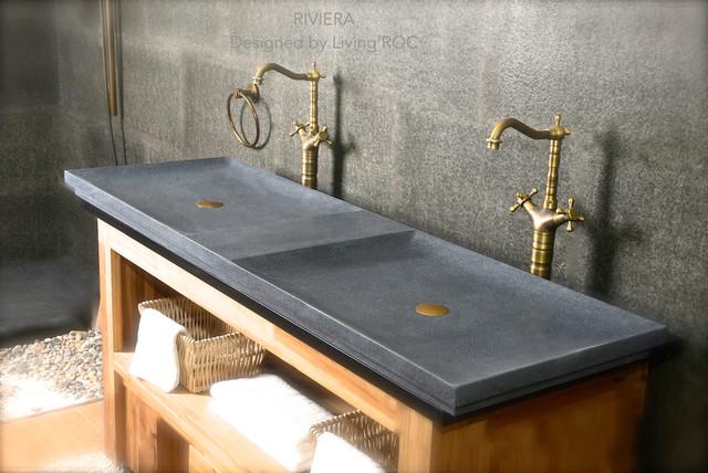 Stone Trough Sink : GRAY DOUBLE TROUGH BATHROOM SINK 63