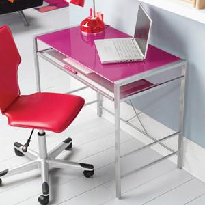 Mainstays Glass-Top Computer Desk, Fuchsia modern-kids-desks-and-desk-sets