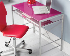 Mainstays Glass-Top Computer Desk, Fuchsia modern kids tables