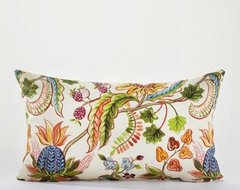 White Indonesian Fruit Wide Lumbar Pillow eclectic outdoor pillows