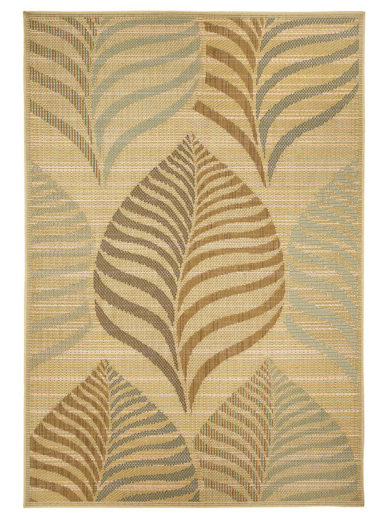 Terrace Leaf rug in Straw - Wilton-woven for Indoor or Outdoor use, the Terrace Collection sets the standard for this category using seven colors - most indoor/outdoor rugs use two to three at most.