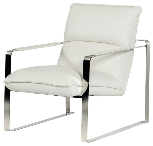 Dunn Modern White Leather Lounge Chair Modern Indoor Chaise Lounge Chairs