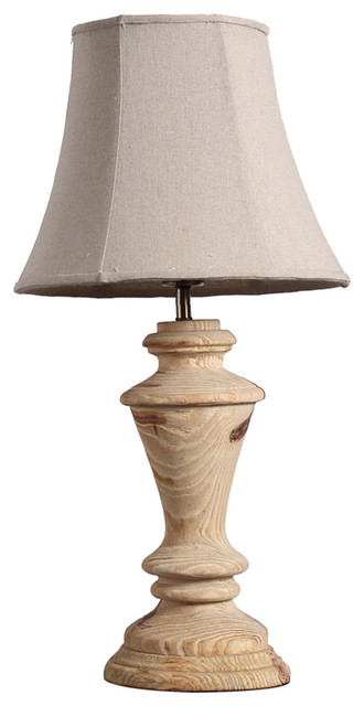 Country Style Wooden Carved Handmade Table Lamp With Bell ...