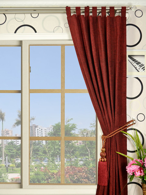 Soft Red Heavy-weight Double Pinch Pleat Chenille Curtains modern-curtains