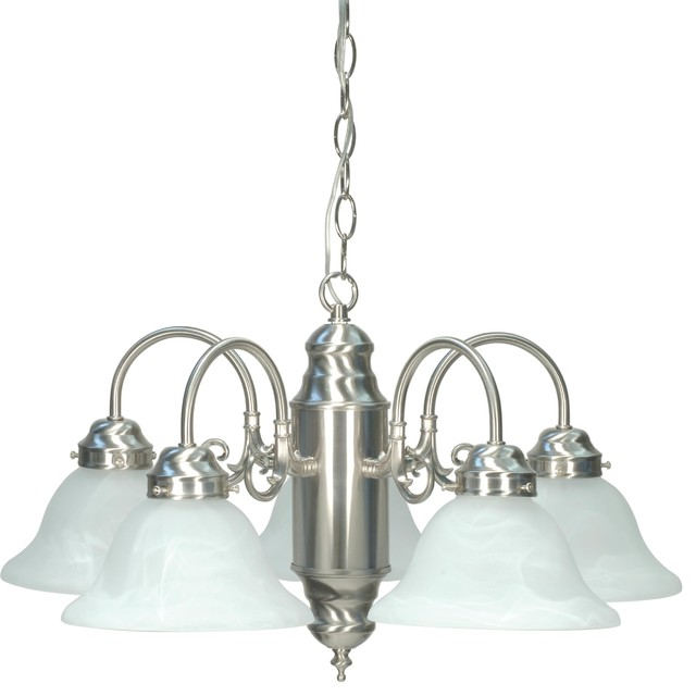 Five Light Chandelier With Alabaster Glass Shades In Brushed Nickel Finish traditional-chandeliers
