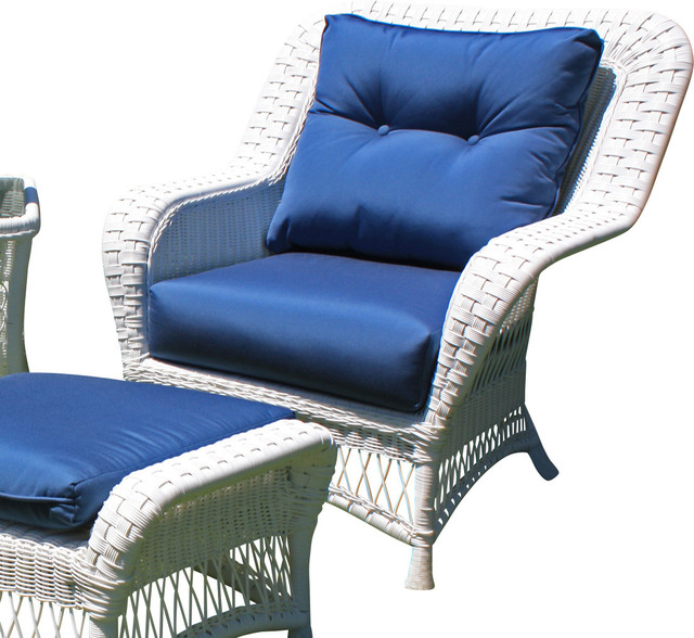 Princeton Wicker Lounge Chair - White traditional-outdoor-lounge-chairs