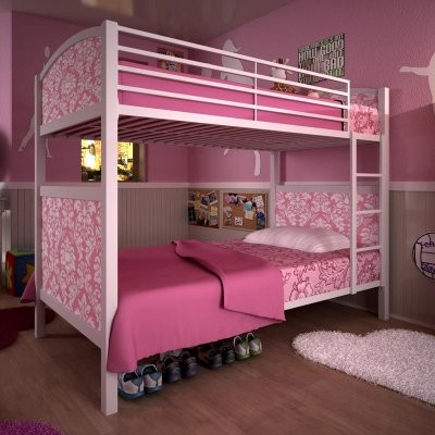 Printed Panel Twin over Twin Bunk Bed - Damask modern-beds