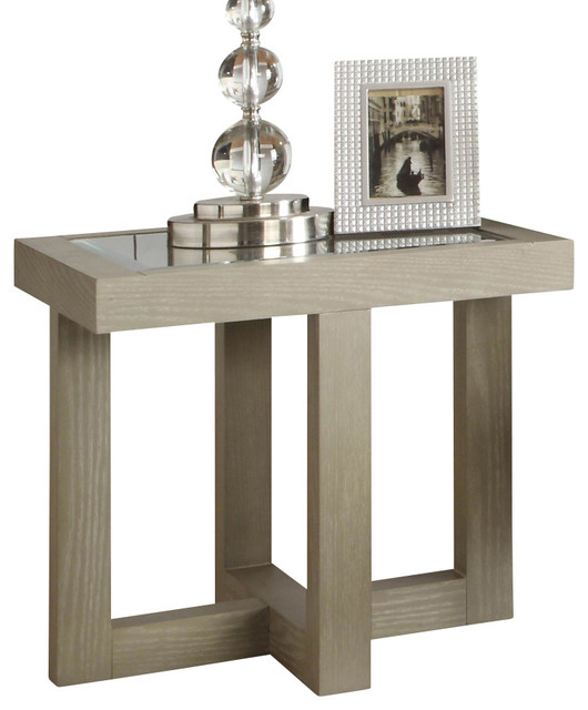 Homelegance guerrero square glass end table in cool grey for Cool side tables