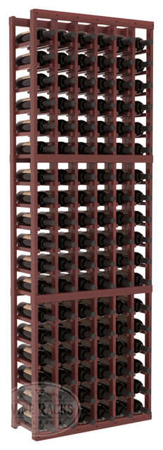 6 Column Standard Cellar Kit in Redwood with Cherry Stain + Satin Finish traditional-wine-racks