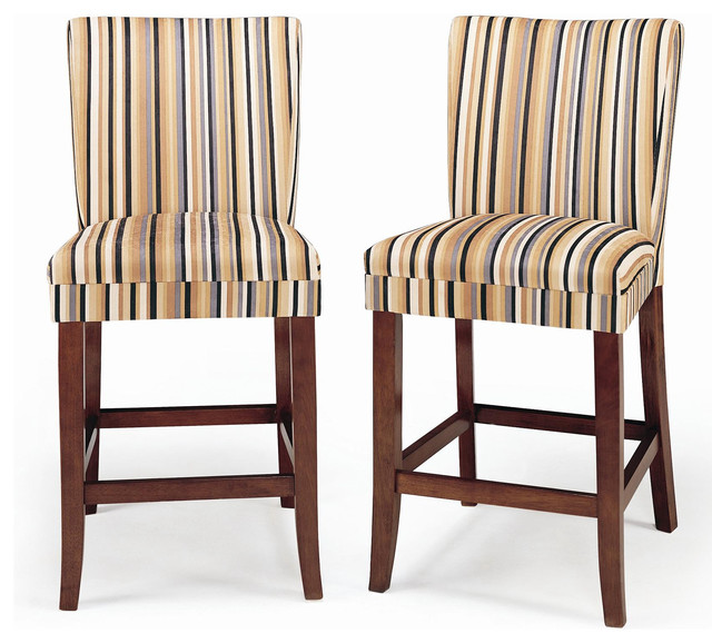 Parson Striped Upholstered Pub Stools (Set of 2) contemporary-bar-stools-and-counter-stools