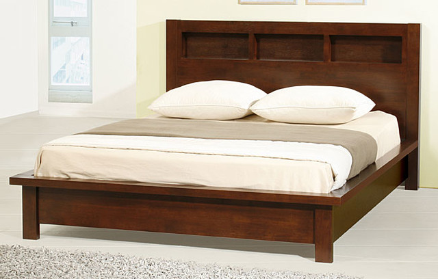 Creighton Walnut Cherry Queen-size Bed contemporary-beds