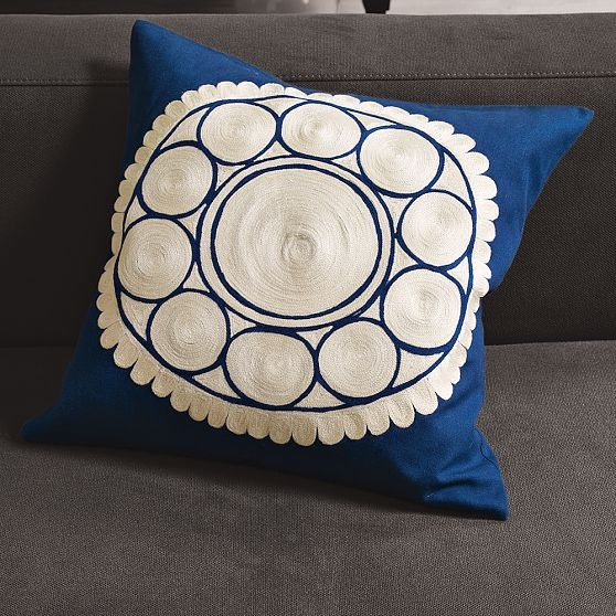 Embroidered Wood-Block Flower Pillow Cover modern-decorative-pillows