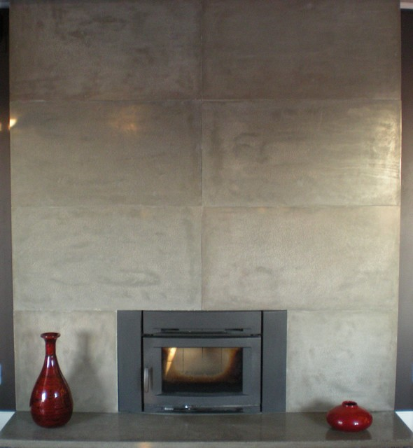 Modern concrete floor to ceiling fireplace made in the - Floor to ceiling fireplace ...
