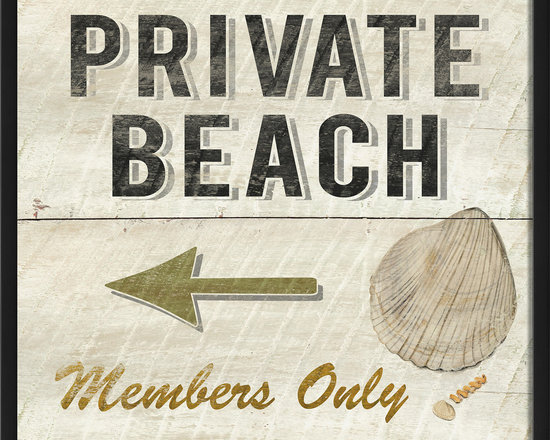 """The Artwork Factory - """"Private Beach Members Only"""" Print - 100% Made in the USA, Ready-to-Hang, museum quality framed artwork"""