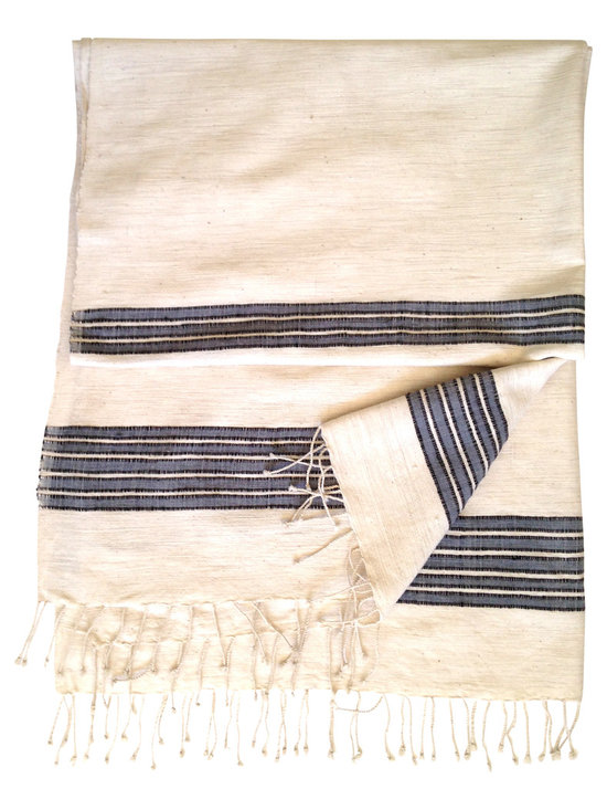 Woven Promises - Ethiopian Cotton Zarima Towels, Gray With Black Stripe - Our fouta style large bath towels have a simple, yet sophisticated style. They are extremely versatile and can be used for the bathroom, bedroom (as a throw), for the beach (sand shakes right off), as a picnic blanket, a sarong, a shawl, yoga mat, small tablecloth and more. They are wonderful for the home and essential for travel. They wash and dry beautifully and quickly, and soften with each wash.