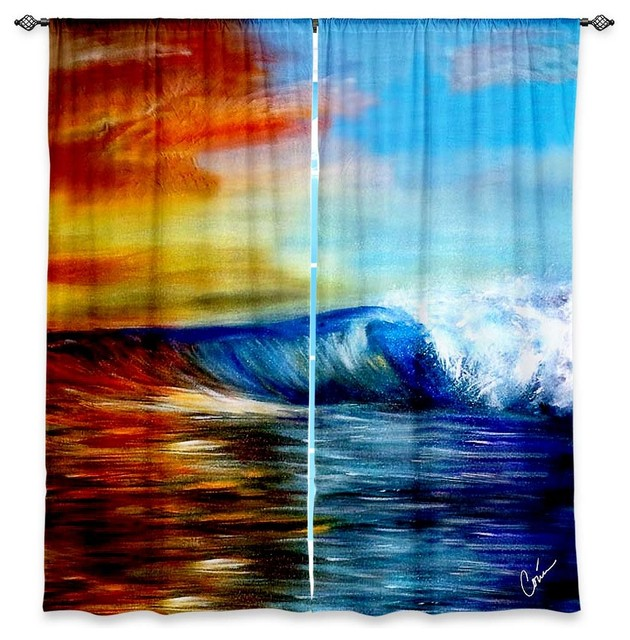 Window Curtains Lined by Corina Bakke Maui Wave contemporary-curtains