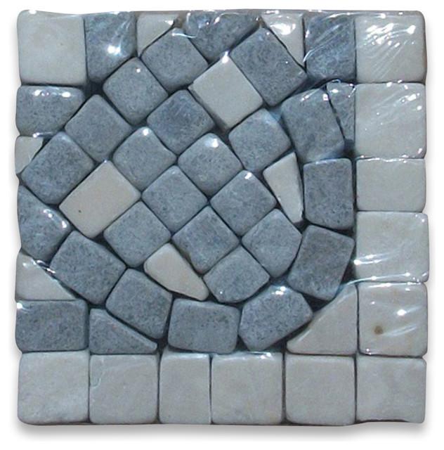 Quadra Sienna 2.25x2.25 Marble Mosaic Border Corner Tumbled tile