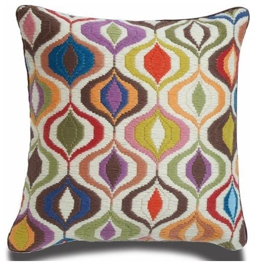 Eclectic Pillows : Jonathan Adler Bargello Waves Pillow - Eclectic - Decorative Pillows - by Jonathan Adler