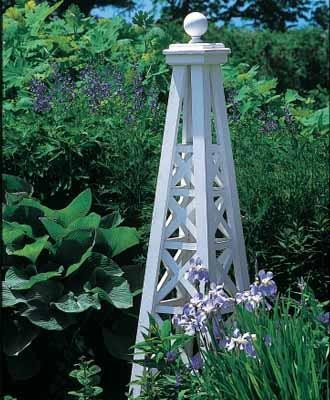 Lattice obelisk with sphere top traditional garden for Garden obelisk