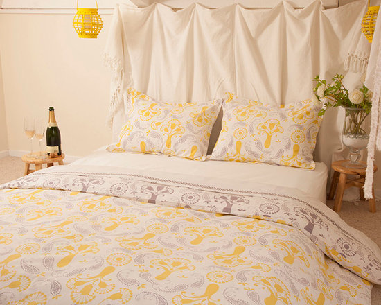 Beautiful Bedding - Champagne Charm Fabric is Hand Block Printed in Jaipur. A traditional technique, invented 400 years ago by chipaas of Rajasthan.