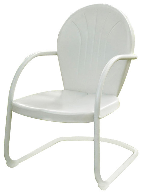 Crosley Furniture Griffith Metal Chair White Contemporary Outdoor Dining
