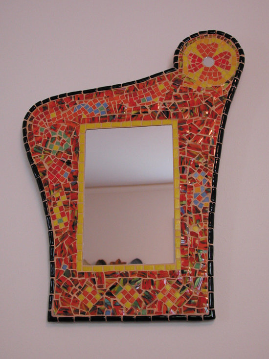 """Mosaic """"Gaudi"""" mirror - Custom designed mosaic mirror using a broken vase from the client. Design an homage to Antoni Gaudi. Size approx. 11 x 19 inches."""