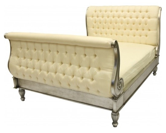 Chichi Furniture Exclusives. - A Stunning French Silk upholstered Sleigh Bed.