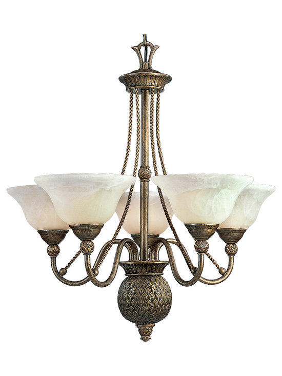 Progress Lighting P4010-86 Burnished Chestnut Savannah Five-Light Single-Tier Ch - The 5 light chandelier from the Savannah collection has clear seeded glass, which showcases the essence of each fixture in this lively collection.