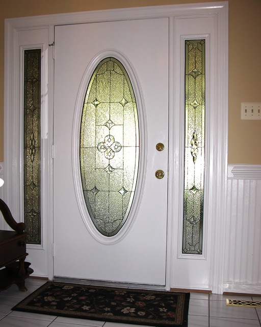 Sidelights oval glass for door traditional front doors for Window treatment for oval window