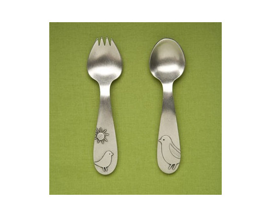 Beehive Momma & Baby Bird Spoon Set - Perfect for baby's first utensils, the Momma & Baby Bird Spoon Set by Beehive is hand cast in lead free pewter, and sure to be an heirloom.