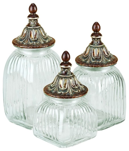 Polystone Glass Canister For Dancing Lights - Set of 3 traditional-food-containers-and-storage