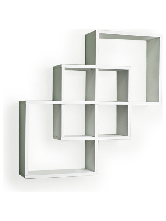 """Danya B. - Intersecting Squares Decorative Wall Shelf, White - Decorative wall shelves show 3 boxes that intersect and connect with each other creating a geometric pattern with 6 openings. Hidden perforations secure to nails or screws, and allow for the piece to be hung either vertically or horizontally.  With its contemporary  finish, it is the ideal accent for any living space. Made of laminated MDF, it attaches to the wall with two keyhole perforations in the back, which secure to nails or screws showing no visible hardware.  Minor assembly required.  Color: Black or White.  Measures 23.5 x 5 x 23.5"""".  Weight capacity: 16lbs. Made in China"""