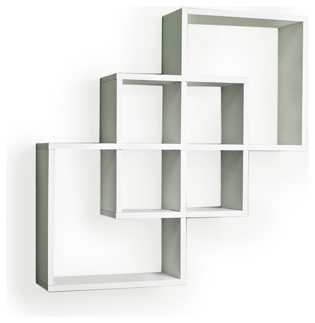 Intersecting squares decorative wall shelf white contemporary display and wall shelves by - Decorate wall shelves ...