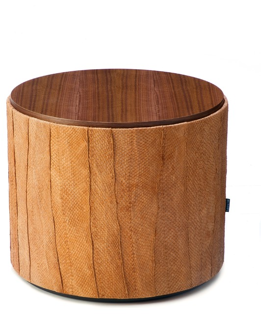 Sabina Hill Harvest Collection- Cedar Salmon Leather Drum Table contemporary-side-tables-and-end-tables