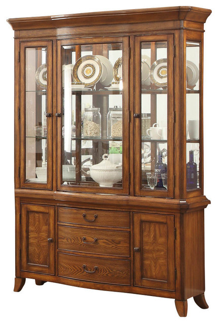 Homelegance Keegan II Buffet and Hutch in Warm Oak - Contemporary - China Cabinets And Hutches ...
