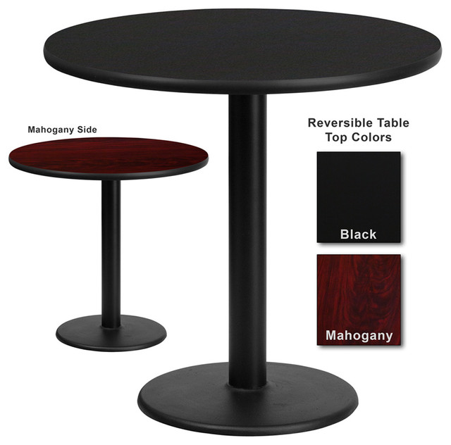 Flash furniture 30 inch round dining table with reversible laminate top traditional dining - Laminate kitchen tables ...