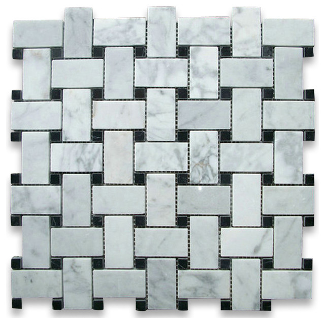 Carrara Marble Basketweave Mosaic Tile Black Dots 1x2 Polished - Traditional - Wall And Floor ...
