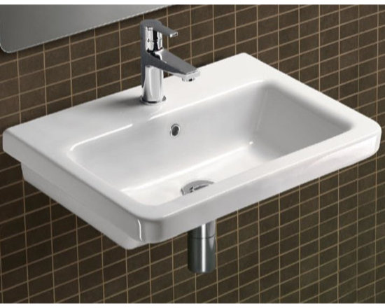 "GSI - Self Rimming or Wall Mounted Rectangular White Ceramic Sink - Trendy and stylish contemporary self rimming or wall mounted bathroom sink. This rectangular white ceramic bathroom sink is designed and manufactured in Italy by GSI. Sink includes overflow and is available with either no faucet hole, a single hole (as shown), or 3 holes. Sink dimensions: 31.50"" (width), 7.10"" (height), 17.70"" (depth)"