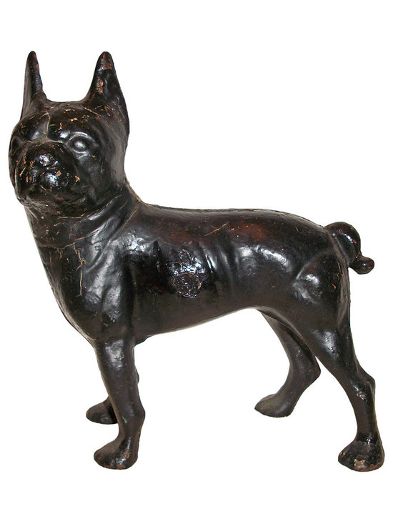 Black Iron Dog Doorstop - Black iron boxer dog door stop, from the 1940's, has paint ware, but don't you just love him.