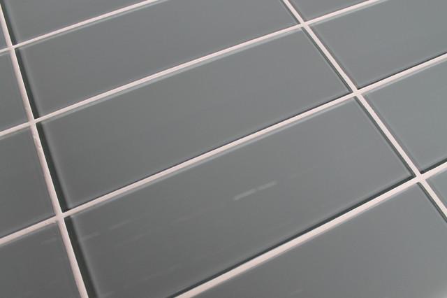 Chimney Smoke Blue Gray 4 X 12 Glass Subway Tile Contemporary Tile