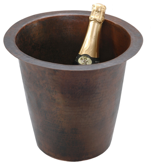 """Premier Copper Products BR12WDB 12"""" Round Hammered Copper Champagne Bar Sink rustic-barware"""