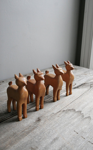 Vintage Folk Art Deer by Oh, Albatross contemporary-home-decor