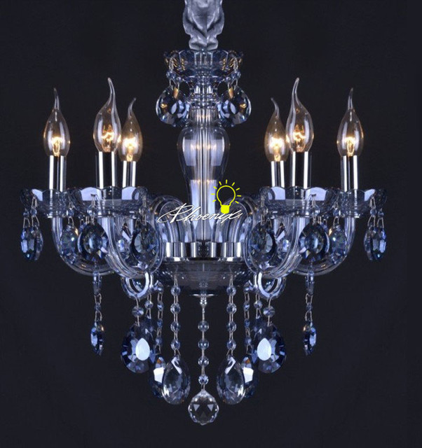 Modern Chandeliers Nyc: Modern Blue Crystal Tubes And Pendant Chandelier