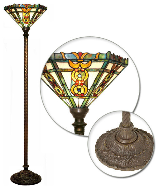 tiffany style roma torchiere lamp traditional floor. Black Bedroom Furniture Sets. Home Design Ideas