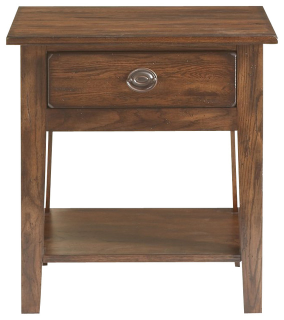 Broyhill Attic Heirlooms Vintage 1 Drawer/1 Shelf Night Stand-Rustic Oak Stain - Transitional ...