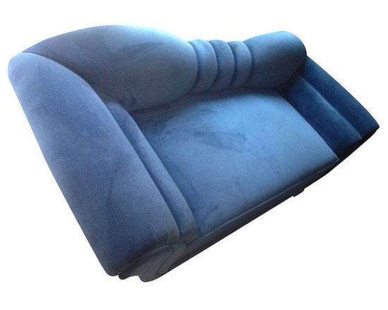 Contemporary Newly Recovered Blue Velvet Sofa - $10,000 Est. Retail - $2,950 on -
