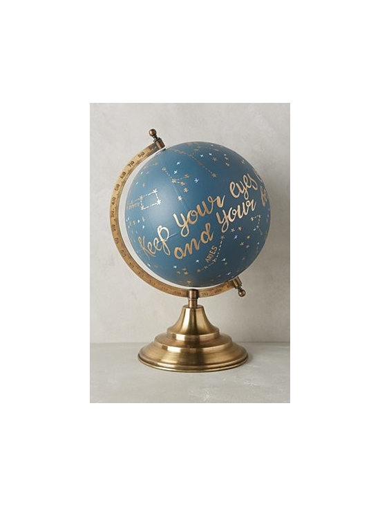 """1canoe2 - Handpainted Wanderlust Globe - Handpainted paper with brass stand. Small: 13""""H, 10""""W, 8""""D. Medium: 15""""H, 12""""W, 10""""D. Large: 17""""H, 14""""W, 12""""D. Imported"""