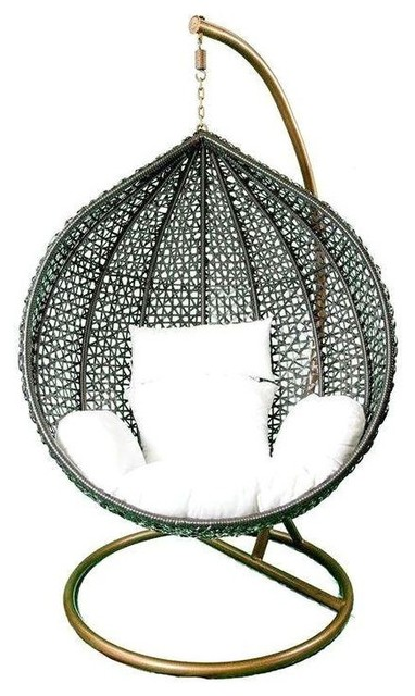 Pre owned Hanging Black Rattan Chair White Cushions