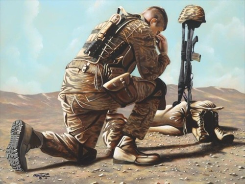 Soldiers Cross 18x24 Print traditional-artwork